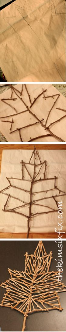 The Kim Six Fix: Rustic Twig Leaf (Tutorial)I love her tip about how to get rid of those UGLY HOT GLUE STRINGS!