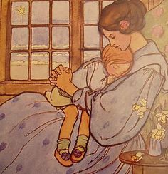 Twilight Tenderness by Florence Harrison. Emma Florence Harrison was an English Art Nouveau and Pre-Raphaelite illustrator of poetry and children's books. Children's Book Illustration, Book Illustrations, Pre Raphaelite, Kids Songs, Mothers Love, Mother And Child, Pretty Pictures, Childrens Books, Vintage Children