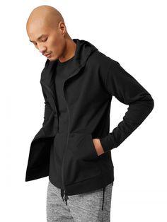 Frank + Oak SC Activ Comfort Zip Hoodie in True Black