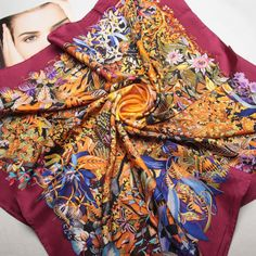 35-100-Twill-Heavy-Silk-Scarf-Square-Women-Neck-Shawl-Wrap-Thick-red-202-018