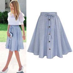 Vintage Women Stretch High Waist Plain Skater Pleated Swing Long Skirt Dress