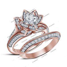 1.88 Carat 14K Rose Gold Finish Diamond Lotus Style Women's Wedding Bridal Ring  #tvsjewelery #EngagementWeddingAnniversaryPromiseValentines