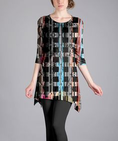 Take a look at this Lily Black Abstract Sidetail Tunic - Plus Too today!