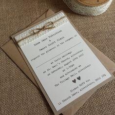 VINTAGE STYLE WEDDING INVITATION Kraft/Ivory Lace & Twine Rustic Shabby Chic