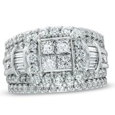 This ring features a center quad cluster of princess-cut diamonds, surrounded by a frame of shimmering round diamonds.