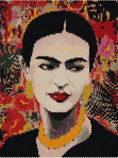 2 Patterns Peyote and loom - Frida Inspiration - Delica Miyuki - Pattern 864 - 2 Tutorial pdf Cross Stitch Embroidery, Hand Embroidery, Cross Stitch Patterns, Embroidery Designs, Beading Patterns, Beading Tutorials, Beaded Banners, Peler Beads, Beadwork Designs