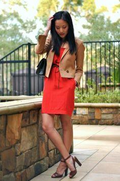 red dress, khaki jacket