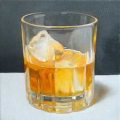 Original painting of rocks glass and bourbon, by Julie Beck juliebcreative on etsy