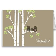 Whimsical Owl Family Thank You Greeting Cards