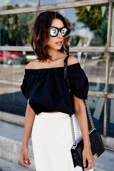 Street style, casual outfit, spring chic, summer chic, black shoulder off top, white skirt, Viva Luxury