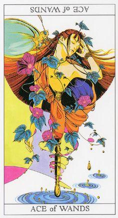 Love and Mystery Tarot by Yoshitaka Amano: Ace of Wands