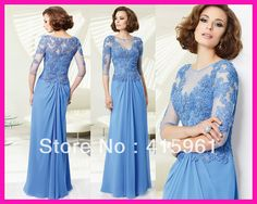 2014 Elegant Scoop 3/4 Sleeves Lace Long Chiffon Plus Size Mother of the Bride/Groom Dresses M1862 $132.00