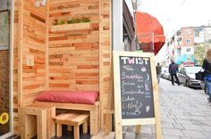 wall, armchair and tables made with upcycled wood