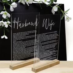Clear Acrylic Husband and Wife Vows Sign - in Solid Timber Bases - Wedding gift - Bride and Groom - Personalised Gifts for Newlywed Couple Wedding Gifts For Bride, Wedding Vows, Bride Gifts, On Your Wedding Day, Wedding Signs, Dream Wedding, Wedding Ideas, Wedding Bells, Wedding Stuff