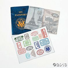 """My Passport"" Sticker Books - Comes in packs of 12 so you could send some for your child to pass on to friends/family.  Would also be neat to send this with a softcover World Almanac!"