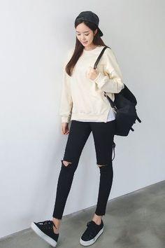 Black Cutting Skinny | Korean Fashion