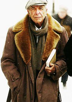 Leonard Cohen with fur collared coat