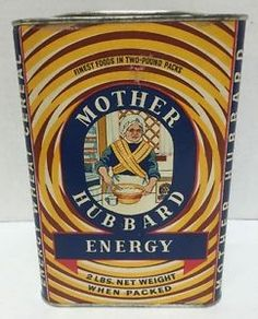 Vintage Mother Hubbard Energy wheat cereal tin
