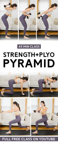 Strength + Plyo Workout Pyramid (45 Min Class) - This workout class mixes dumbbell strength exercises with bodyweight plyometric exercises. Pyramid structure so the intervals get shorter as you go! Full free video includes warm up and cool down. #plyoworkout #strengthworkout #plyometric #workoutvideo #fitness Plyo Workouts, Hiit Workout Videos, Plyometric Workout, Weight Training Workouts, Plyometrics, Dumbbell Workout, Fun Workouts, At Home Workouts, Workout Classes