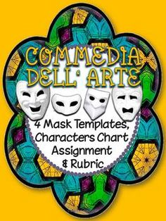 Great for Commedia Dell'Arte: Mask Templates, Characters Chart, Assignment Drama Teacher, Drama Class, Teaching Theatre, Teaching Tools, Drama Activities, Drama Education, Physical Comedy, Stock Character, Secondary Teacher