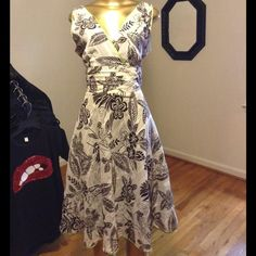 Beautiful floral dress Beautiful broom and cream  floral print dress with green trim Cato Dresses Midi