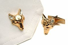 Fox Head Cufflink With Rubies