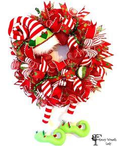 Sparkling Striped Christmas Elf Wreath, Whimsical Elf Wreath, XMAS Front Door Wreath, Elf Hat and Legs Ornament Christmas Wreath by FancyWreathLady on Etsy https://www.etsy.com/listing/488835535/sparkling-striped-christmas-elf-wreath