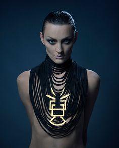 Geometric Gold & black necklace textile jewelry by MichalTaharlev, $217.00