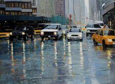 "Han Hong Park ""Rain""   Oil on Canvas, 30"" x 40"""