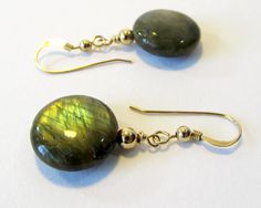 Labradorite Earrings with Gold Filled Hooks by BellaDivaBeads