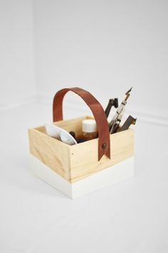 DIY leather-handled wooden box