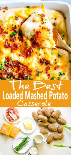 Loaded Mashed Potato Casserole with bacon and lots of cheese. It is a must Thanksiging sidedish. Loaded Mashed Potato Casserole with bacon and lots of cheese. It is a must Thanksiging sidedish. Easy Potato Recipes, Mashed Potato Recipes, Potato Dishes, Side Dish Recipes, Food Dishes, Dinner Recipes, Side Dishes, Bacon Mashed Potatoes, Loaded Mashed Potato Casserole