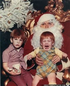 vintage everyday: Funny Vintage Photos Show That Not Every Child Would Like Mr. Claus