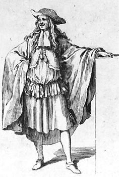 In  the 17th century men were wearing petticoat breeches as you can see in this picture he is wearing them.