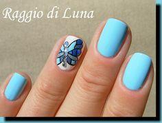 Raggio+di+Luna+Nails:+Blue+mosaic+rhinestone+butterfly