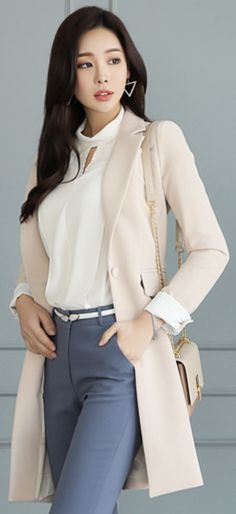 StyleOnme_Single Button Slim Fit Long Jacket #beige #workwear #officelook #jacket #slimfit #chic #koreanfashion #kstyle #kfashion #springtrend #dailylook