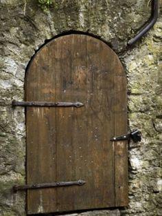 Detail of old wooden door in stone wall, Tallinn, Estonia by SpicySugar