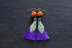 Vintage Tin Purple Tassel Earrings with by MusingTreeStudios