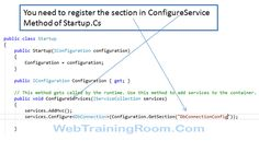register the section in ConfigureService Entity Framework, Sql Server, New Students, First Names, Connection, Core, Kid Names, Freshman Year