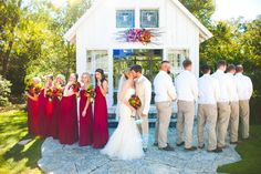 Wedding party turned away while bride and groom kiss  Click through to see full wedding gallery. http://carolineannphotography.com College Station Wedding Photographer