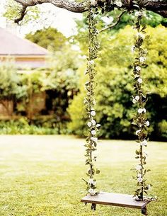 a swing with pretty flowers :)