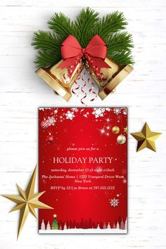 Invite friends or colleagues to celebrate the season with these elegant holiday cocktail party invitations.Customize this elegant invitation with your event type, making it perfect for Christmas parties, holiday soirees, corporate events, holiday cocktail parties and more. #christmas #handmade #diy #watercolor #photo #family #christmas #idea #cards #stampinup  #christmasphotocard #best #cards
