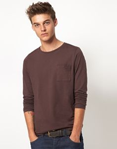 ASOS Long Sleeve Crew Neck T-Shirt With Pocket $21.74