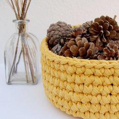 cesto amarillo mostaza almacenaje decoración crochet trapillo ganchillo