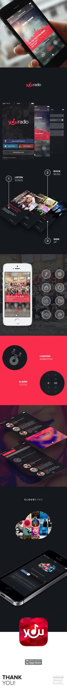 Youradio App by Christine Isslander, via Behance