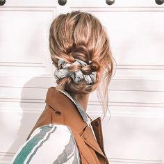 Scarf Bun, Braided Scarf, Braided Hairstyles Tutorials, Scarf Hairstyles, Cool Hairstyles, Hair Scarf Styles, Hair Up Styles, Holiday Hairstyles, Everyday Hairstyles