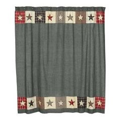 America Patriotic Americana Country Patchwork Star Pattern Shower Curtain $54.95