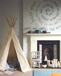 Kids Room: Cool Kids Rooms With Play Tents With Wooden Chairs Also Luxurious Fireplace And White Wall Art Decorating Ideas: 33 Awesome Kids Play Rooms With Play Tents Creative Kids Rooms, Cool Kids Rooms, Creative Ideas, Kids Tents, Teepee Kids, Play Tents, Play Teepee, Teepee Tent, Kid Spaces