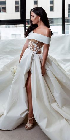 33 Romantic Off The Shoulder Wedding Dresses ❤ off the shoulder wedding dresses ball gown high slit with floral applique alinlekal ❤ See more: http://www.weddingforward.com/off-the-shoulder-wedding-dresses/ #weddingforward #wedding #bride