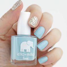 Newspaper Nails with Ella+Mila beach resort blue